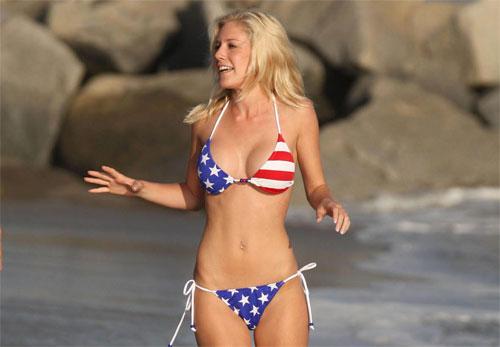 Heidi Montag in an American flag bikini
