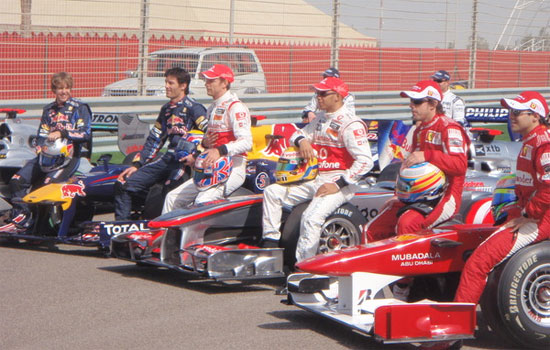 The Bahrain 2010 Drivers Line-Up Parade - Photo Credit @thefifthdriver (twitter)
